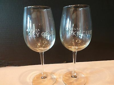 Delta Sky Club Embossed  Premium Wine Glasses Lot of 2  NEW No Longer Available