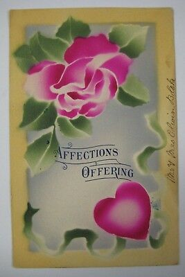 Vintage Early 1900's Valentine's Day Postcard Antique HAND COLORED Hot Pink Rose