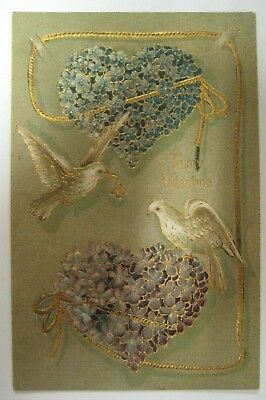 Vtg 1900's Valentines Day Postcard Antique GERMANY Heavily Gold Gilded Flowers