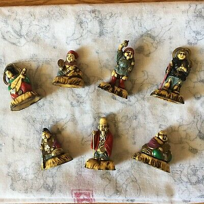 Antique Japanese 7 Lucky Gods Wooden Statues