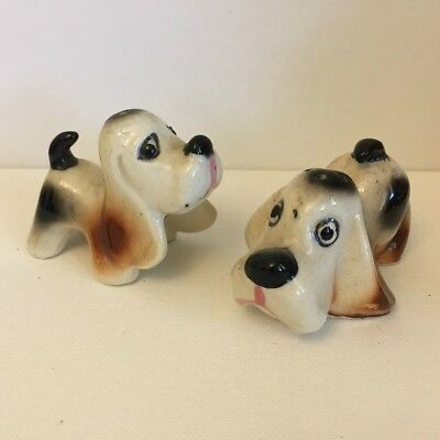 Adorable Vintage Soulful Hound Dogs Salt And Pepper Shakers From Japan