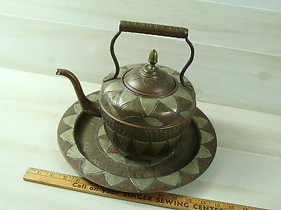 Vintage Art  Coffee tea pot hand crafted copper silver brass India Asia Moroccan