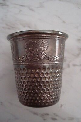 Antique Silver Shot Cup Thimble  Made & Stamped by Christian Dior 5.5 cms