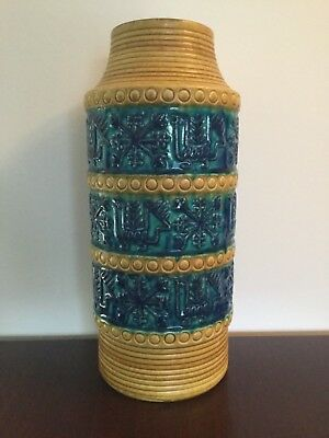 West German Pottery Vase Bay Keramik Form 64 40 yellow Blue Green blau Bodo Mans