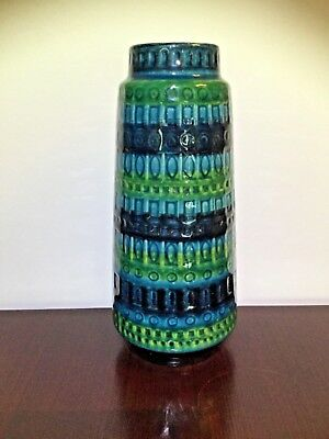 West German Pottery midcentury Vase Scheurich 260-30 Blue Green blau grün WGP