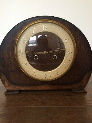 Vintage Westminster Chime Wood Cased Mantle Clock Smiths Enfield