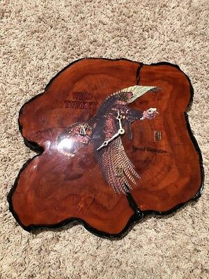 Vintage Wild Turkey Bourbon Whiskey Clock Wall Sign Liquor Beer Collectible