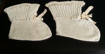 Vintage Handmade Crochet Pair Of Champagne Colored Baby Booties With Ribbon