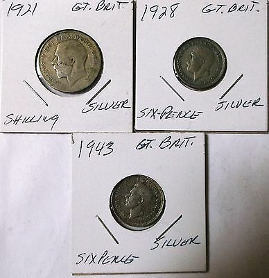 1921 Shilling,1928 6 Pence,1943 6 Pence - Great Britain - Silver 3 Coins