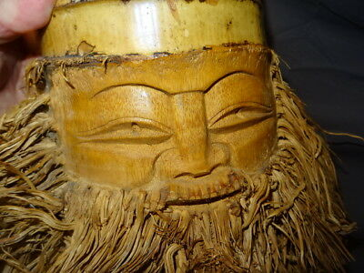 Vintage Unusual Oriental Carved Bamboo Bearded Man Wall Mask / Wall Hanging