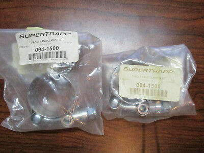 """SUPERTRAPP Exhaust Clamps NOS 2 Pack STAINLESS STEEL 1.5"""" T-BOLT CLAMPS 094-1500"""