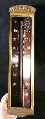 "Vintage Princo Brass Industrial Thermometer 40 To 400 Degree Scale 11"" x2.7"" EXC"