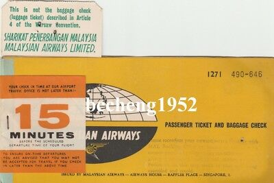 Old Malaysian Airways Passenger Ticket and Baggage Check