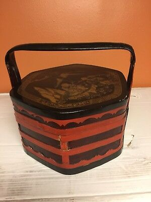Antique Chinese Export tea Caddy wooden box with Handle.