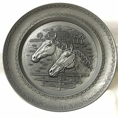 Hand wrought Pewter Portrait Plate Of 2 Very Nice Horses. Mark-W/Angel & Wreath