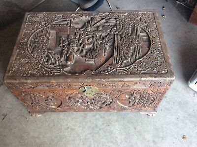 Vintage Antique Carved Chinese Wood Chest Trunk