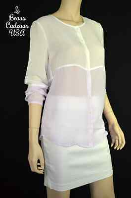 f63ce0d760f66e NEW$54.9 BANANA REPUBLIC Women Shirt Blouse Top SMALL Lilac White SHEER  LongSlv