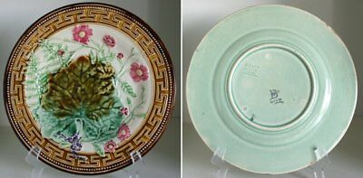Pretty/Old Majolica Choisy Le Roi Floral & Fern Leaf Plate with Greek Key