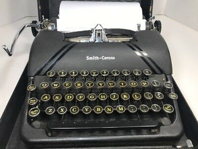 Vintage Smith Corona Sterling Floating Shift Manual Typewriter 1945? with Case