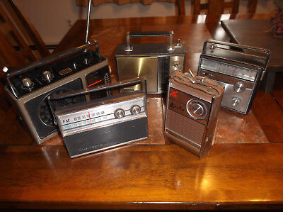 5 VTG PortableTransistor Radios Lot Arvin Zenith Elgin Ross Channel Master