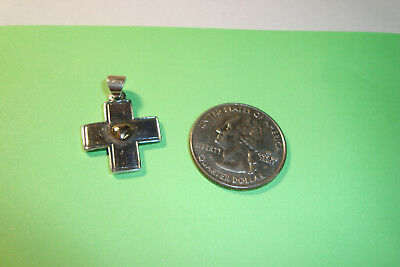James Avery 14k and sterling silver cross with heart pendant