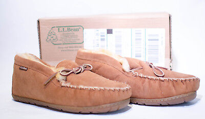 L.L. BEAN Men's Size 11W WICKED GOOD Shearling & Brown Suede Moccasins Slippers