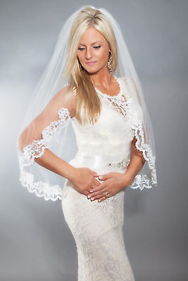 1 Layer Elbow Wedding Bridal Veil With Comb Lace Edge Accessories Real Photo New