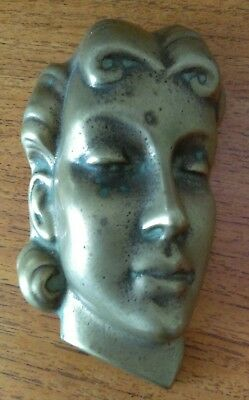 Vintage Art Deco Peerage Solid Brass Ladies Face Wall Mask 1930's