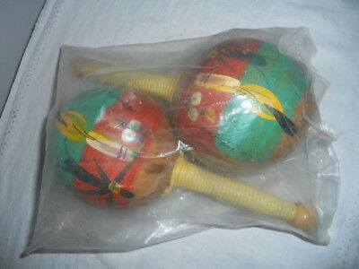 (New In Package) Vintage Gourd Maracas Shakers From Mexico Hand Painted