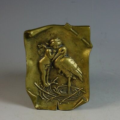 Antique Bronze Vide Poche Coin Dish with Cupid and Stork