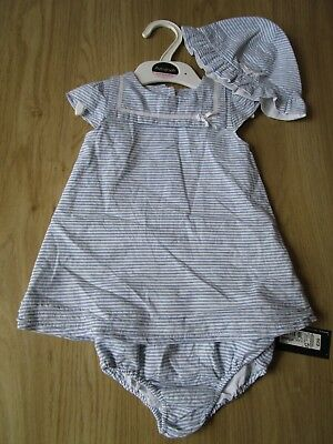 New Baby Girl's M&S AUTOGRAPH Pale Blue/White Outfit 3 Part Set age 3-6 months