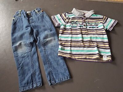 Baker Baby Ted Baker jeans and striped polo shirt boys age 18-24 months