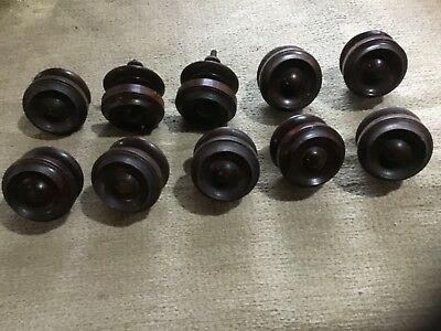 10 large antique wooden Victorian drawer knobs turned door knobs mahogany