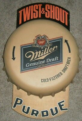VINTAGE PURDUE and  MILLER GENUINE DRAFT TWIST & SHOUT BOTTLE CAP BEER SIGN