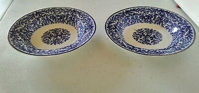 "Set of 2 WOOLWORTH ENGLAND BLUE TRANSFER FIBRE WILLOW TREE PAT 8 7/8"" Bowls"
