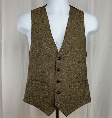 Vintage 5 Bakelite Button Custom Wool Suit Vest Slim Fit Waistcoat Mens Medium M