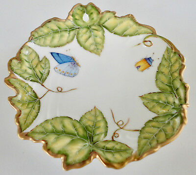 Hand Painted Rare ANNA WEATHERLEY Hungarian Porcelain Dish Leaves & Insects: NR!