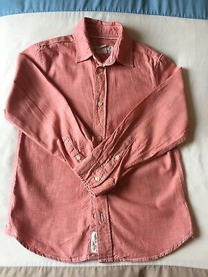 Boys H&M Shirt Age 6-7 Salmon Pink Button Long Sleeve