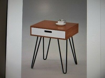 """Dark Oak / White Side End Table Nighstand Metal Legs with One Drawer 24""""H -..."""