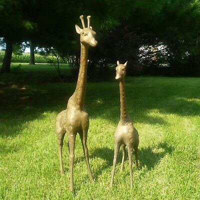 Vintage Brass African Giraffe Statues Set Of Two