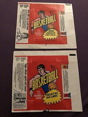 Vintage 1974 -75 TOPPS Basketball Wax Pack Wrapper Auction Lot Of 2