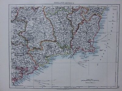 1901 Victorian Map Ireland Waterford Wexford Tipperary