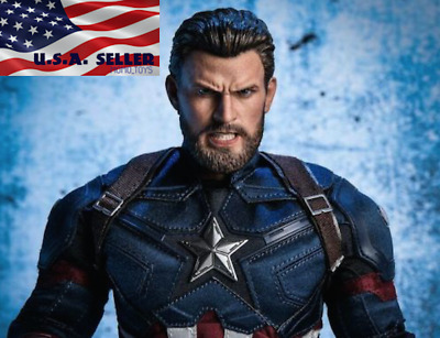 """1/6 Chris Evans Captain America Head Sculpt ANGRY For 12"""" Hot Toys PHICEN ❶USA❶"""