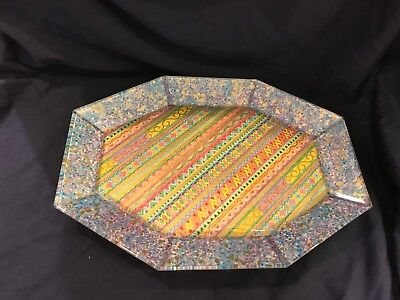 Hand-painted footed glass tray