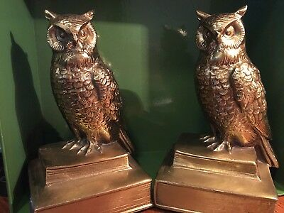 """Vintage Pair~Solid Brass~*OWL SCULPTURES*~Bookends Paperweights~6 1/2"""" T X 4"""" W"""