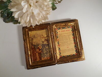 Vintage Florentine Holy Wood Hinged Prayer Book Religious Toleware Gold & White