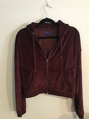 velour tracksuit Zip Up Hoodie Zippered Wine Red Cropped Size Med Large