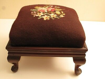 Antique Mahogany Empire Victorian Footstool Needlepoint Top Floral Chippendale