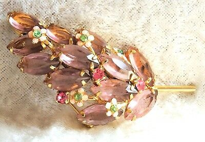 Vintage Lavender Open Back Rhinestone & Tiny Flowers  Brooch   - Repaired