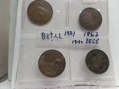 English Large coins Vintage Pennies